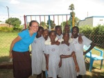 I am with some girls at the Compassion International project.