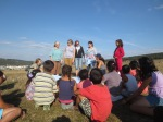 Sharing a Bible story at the Cold Valley gypsy village.