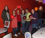 Having some fun at the bowling alley.
