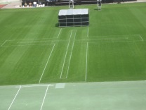A cross was painted on the grass on the field of the stadium