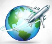 Globe with airplane