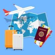 Travel Planning. Passport, airplane ticket, world map