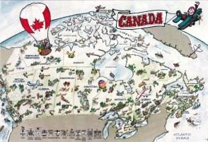 Canada - The map and the flag of the country